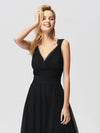 Floor Length V Neck Evening Gown-Black 5