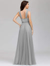 Floor Length V Neck Evening Gown-Grey 10