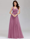 Floor Length V Neck Evening Gown-Purple Orchid 4