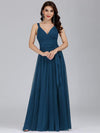 Floor Length V Neck Evening Gown-Teal 1