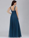 Floor Length V Neck Evening Gown-Teal 2