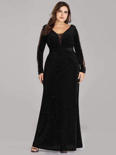 Shimmery Velvet Evening Dresses for Women with Long Sleeves