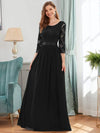 See-Through Floor Length Lace Evening Dress With Half Sleeve-Black 1