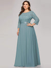 Plus Size See-Through Floor Length Lace Evening Dress With Half Sleeve-Dusty Blue 3