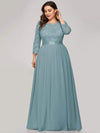 See-Through Floor Length Lace Evening Dress With Half Sleeve-Dusty Blue 9