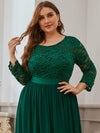 Plus Size See-Through Floor Length Lace Evening Dress With Half Sleeve-Dark Green 5