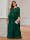 Plus Size See-Through Floor Length Lace Evening Dress With Half Sleeve-Dark Green 3