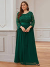 Plus Size See-Through Floor Length Lace Evening Dress With Half Sleeve-Dark Green 4