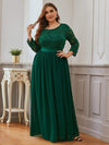 Plus Size See-Through Floor Length Lace Evening Dress With Half Sleeve-Dark Green 1