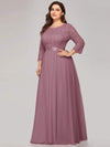 Plus Size See-Through Floor Length Lace Evening Dress With Half Sleeve-Purple Orchid 3
