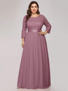 Plus Size See-Through Floor Length Lace Evening Dress With Half Sleeve-Purple Orchid 1