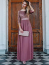 See-Through Floor Length Lace Evening Dress With Half Sleeve-Purple Orchid 10
