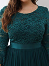 See-Through Floor Length Lace Evening Dress With Half Sleeve-Teal 5