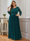 See-Through Floor Length Lace Evening Dress With Half Sleeve-Teal 1