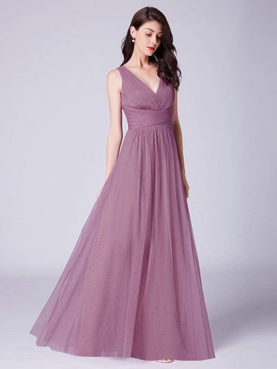 Long Evening Dress with Ruched Bust & V Neck