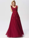 Women Elegant V Neck Sleeveless Lace Evening Cocktail Party Dresses-Burgundy 11