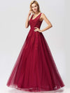 Women Elegant V Neck Sleeveless Lace Evening Cocktail Party Dresses-Burgundy 12