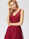 Women Elegant V Neck Sleeveless Lace Evening Cocktail Party Dresses-Burgundy 13