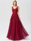 Women Elegant V Neck Sleeveless Lace Evening Cocktail Party Dresses-Burgundy 9