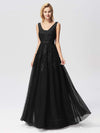 Women Elegant V Neck Sleeveless Lace Evening Cocktail Party Dresses-Black 7