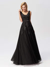 Women Elegant V Neck Sleeveless Lace Evening Cocktail Party Dresses-Black 8