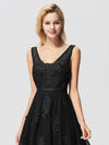 Women Elegant V Neck Sleeveless Lace Evening Cocktail Party Dresses-Black 9