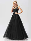 Women Elegant V Neck Sleeveless Lace Evening Cocktail Party Dresses-Black 5