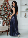 Floor Length Velvet And Sequin Evening Dress-Navy Blue 9