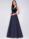 Shimmery Floor Length Burgundy Prom Dress-Navy Blue 2