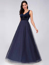 Shimmery Floor Length Burgundy Prom Dress-Navy Blue 3