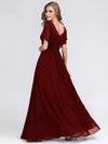 Women'S A-Line Empire Waist Evening Party Maxi Dress-Burgundy 1