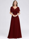 Women'S A-Line Empire Waist Evening Party Maxi Dress-Burgundy 3