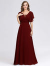 Women'S A-Line Empire Waist Evening Party Maxi Dress-Burgundy 4