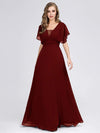 Women'S A-Line Empire Waist Evening Party Maxi Dress-Burgundy 5
