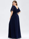 Plus Size Women'S A-Line Empire Waist Evening Party Maxi Dress-Navy Blue 2