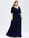 Plus Size Women'S A-Line Empire Waist Evening Party Maxi Dress-Navy Blue 3