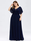 Plus Size Women'S A-Line Empire Waist Evening Party Maxi Dress-Navy Blue 4