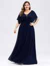 Plus Size Women'S A-Line Empire Waist Evening Party Maxi Dress-Navy Blue 1