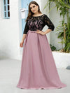 Women Lace Round Neck Formal Evening Dress-Mauve 10