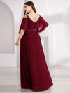 Women'S Off Shoulder Floor Length Bridesmaid Dress With Ruffle Sleeves-Burgundy 2
