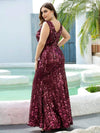 Mermaid Sequin Dresses For Women-Burgundy 7