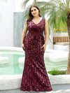 Mermaid Sequin Dresses For Women-Burgundy 6
