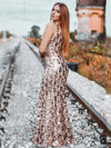 Mermaid Sequin Dresses For Women-Rose Gold 16