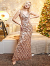 Mermaid Sequin Dresses For Women-Rose Gold 7