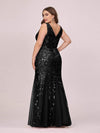 Women'S Double V-Neck Fishtail Seuqin Evening Maxi Dress-Black 5