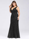 Women'S Double V-Neck Plus Size Fishtail Seuqin Evening Maxi Dress-Black 3