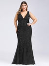 Women'S Double V-Neck Plus Size Fishtail Seuqin Evening Maxi Dress-Black 4