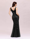 Women'S Double V-Neck Fishtail Seuqin Evening Maxi Dress-Black 2