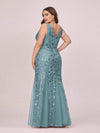 Women'S Double V-Neck Fishtail Seuqin Evening Maxi Dress-Dusty Blue 5