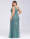 Women'S Double V-Neck Plus Size Fishtail Seuqin Evening Maxi Dress-Dusty Blue 2